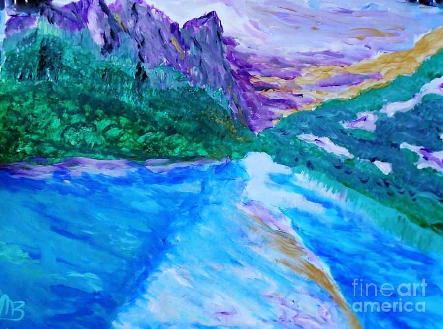 Landscape Painting - Purple Mountins With A Touch Of Gold by Marie Bulger
