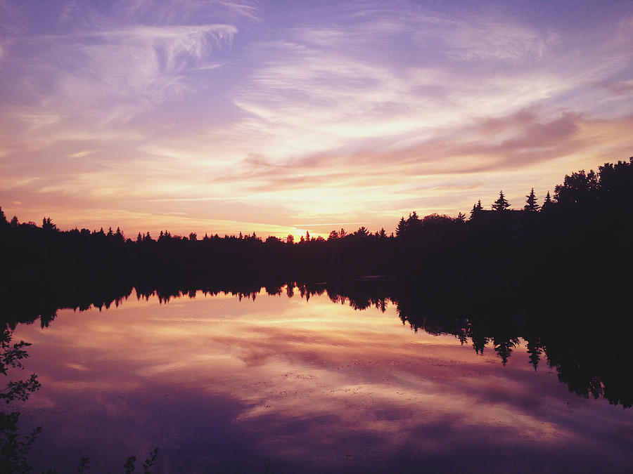 Lake Photograph - Purple Night by Larysa  Luciw