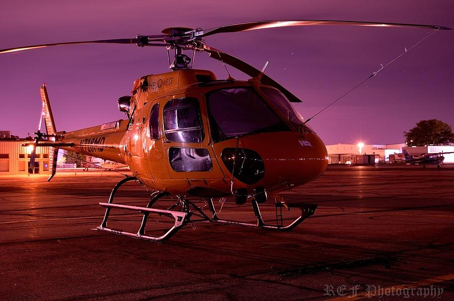 Helicopter Photograph - Purple Night by Ray Franks