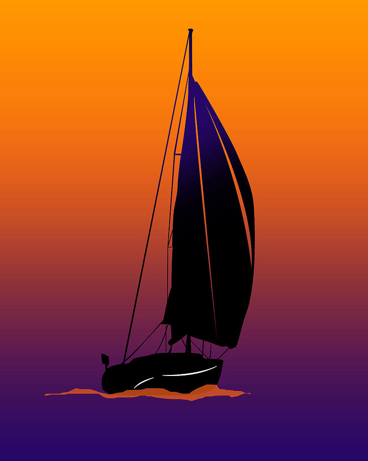 Yachts Digital Art - Purple On Orange Sailing by Peter Stevenson