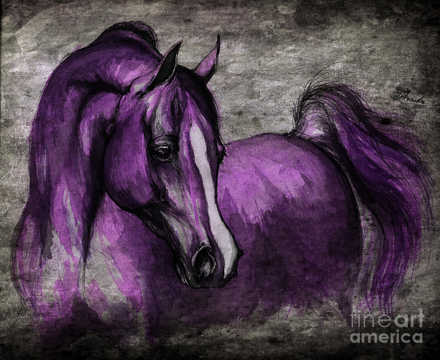 Horse Painting - Purple One by Angel  Tarantella