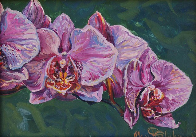 Orchid Painting - Purple Orchids by Christine Lytwynczuk