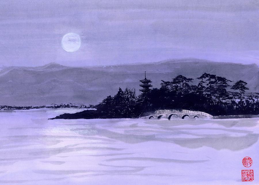 Moon Painting - Purple Pagoda by Terri Harris