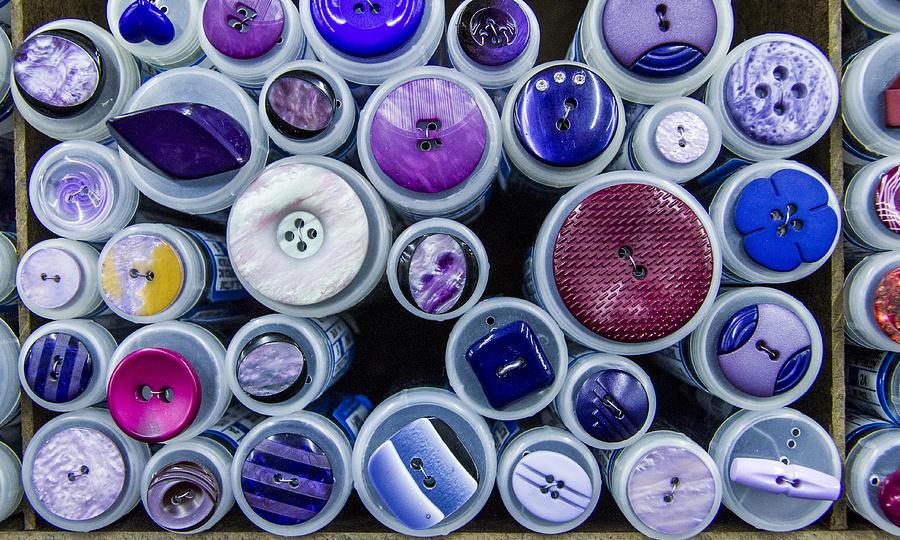 Button Photograph - Purple Palate by Jean Noren