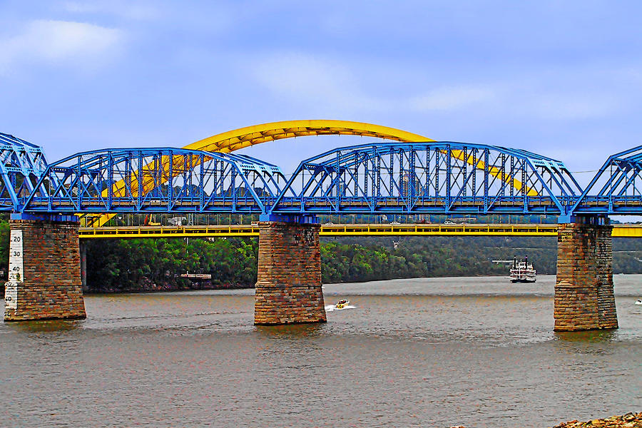 Purple Photograph - Purple People Bridge And Big Mac Bridge - Ohio River Cincinnati by Christine Till