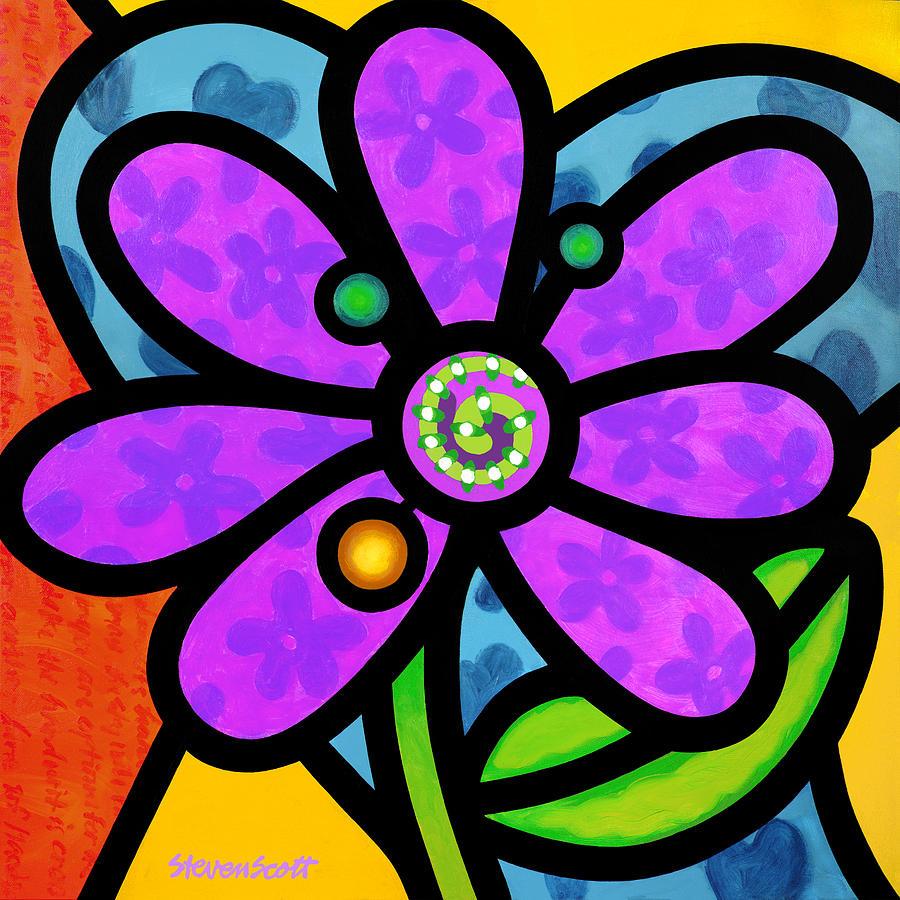 Purple Pinwheel Daisy Painting