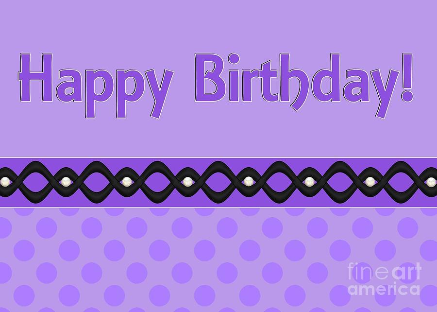 Happy Digital Art - Purple Polka Birthday by JH Designs