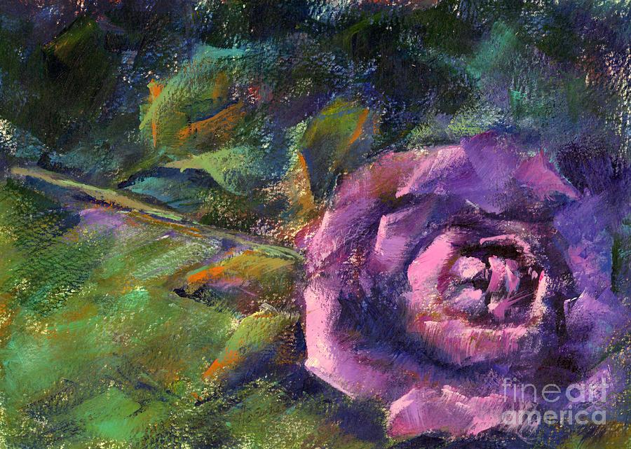 Purple Rose Painting - Purple Rose by Addie Hocynec