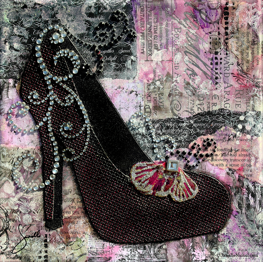 Purple Shoes With Butterfly On Pink Purple Abstract