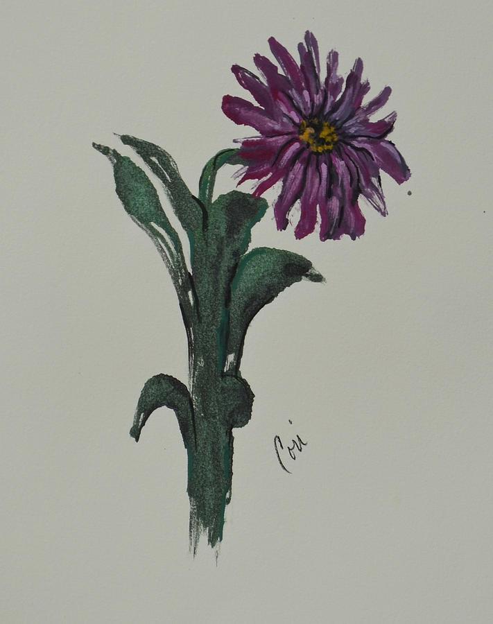 Flower Mixed Media - Purple Simplicity by Cori Solomon
