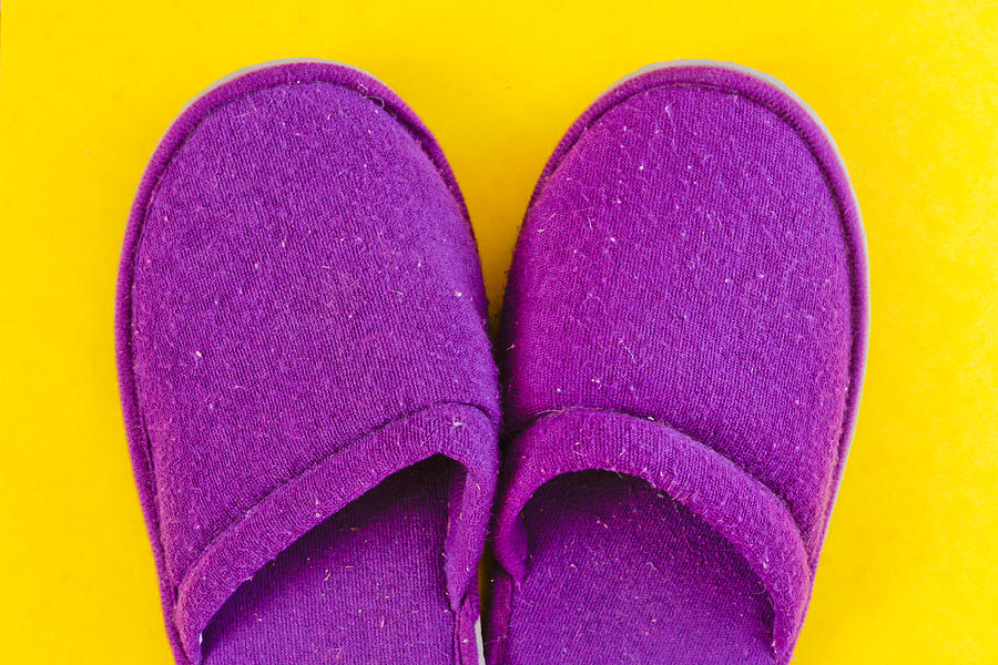Cosy Photograph - Purple Slippers by Tom Gowanlock