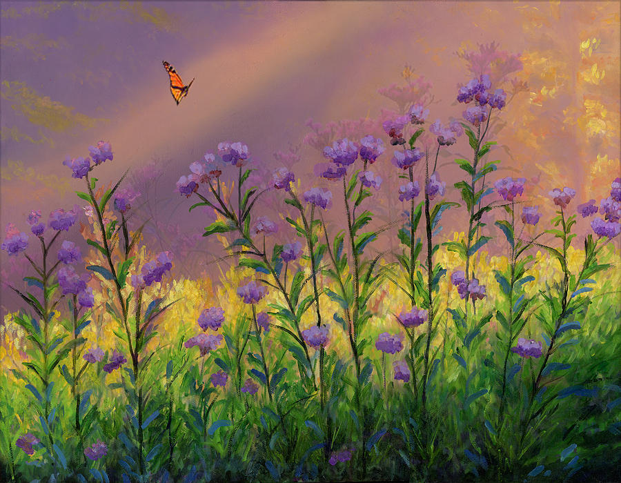 Purple Statice Flowers Painting By Cecilia Brendel