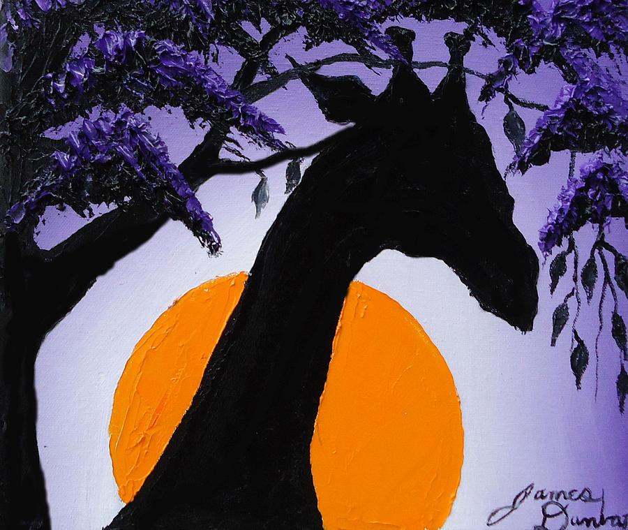 Purple Sun Giraffe Painting by Portland Art Creations