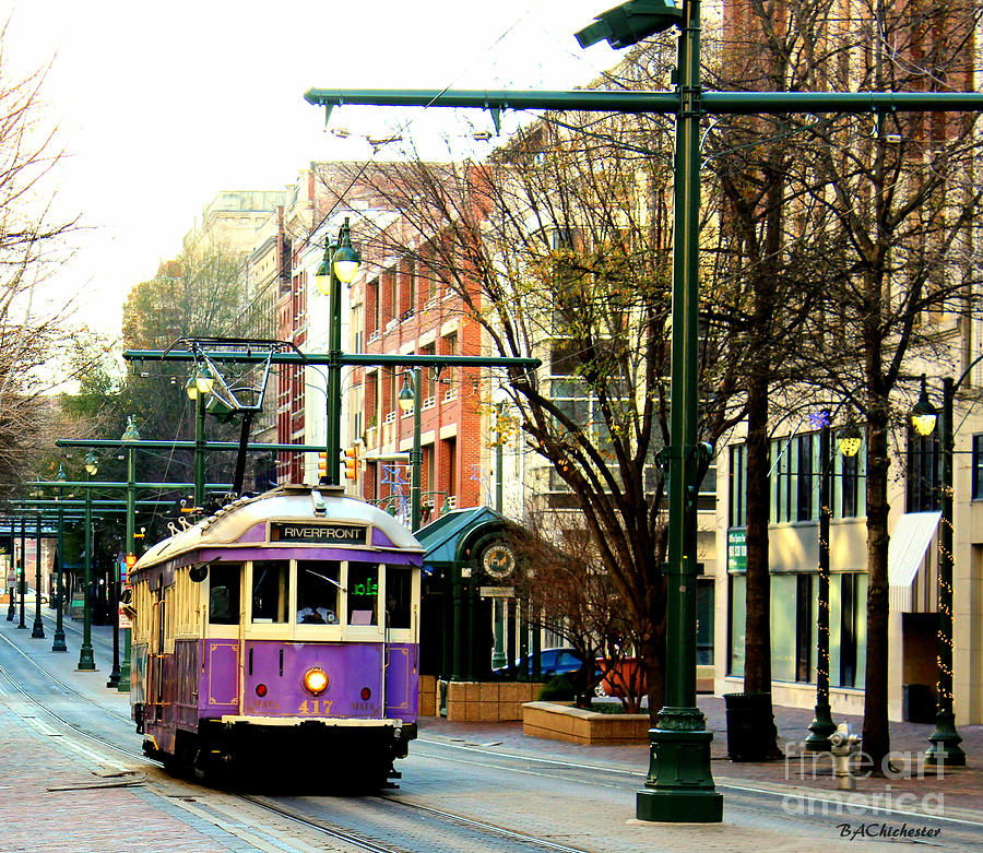 Street Car Photograph - Purple Trolley by Barbara Chichester