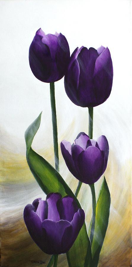 Tulips Painting - Purple Tulips by Teresa Wadman