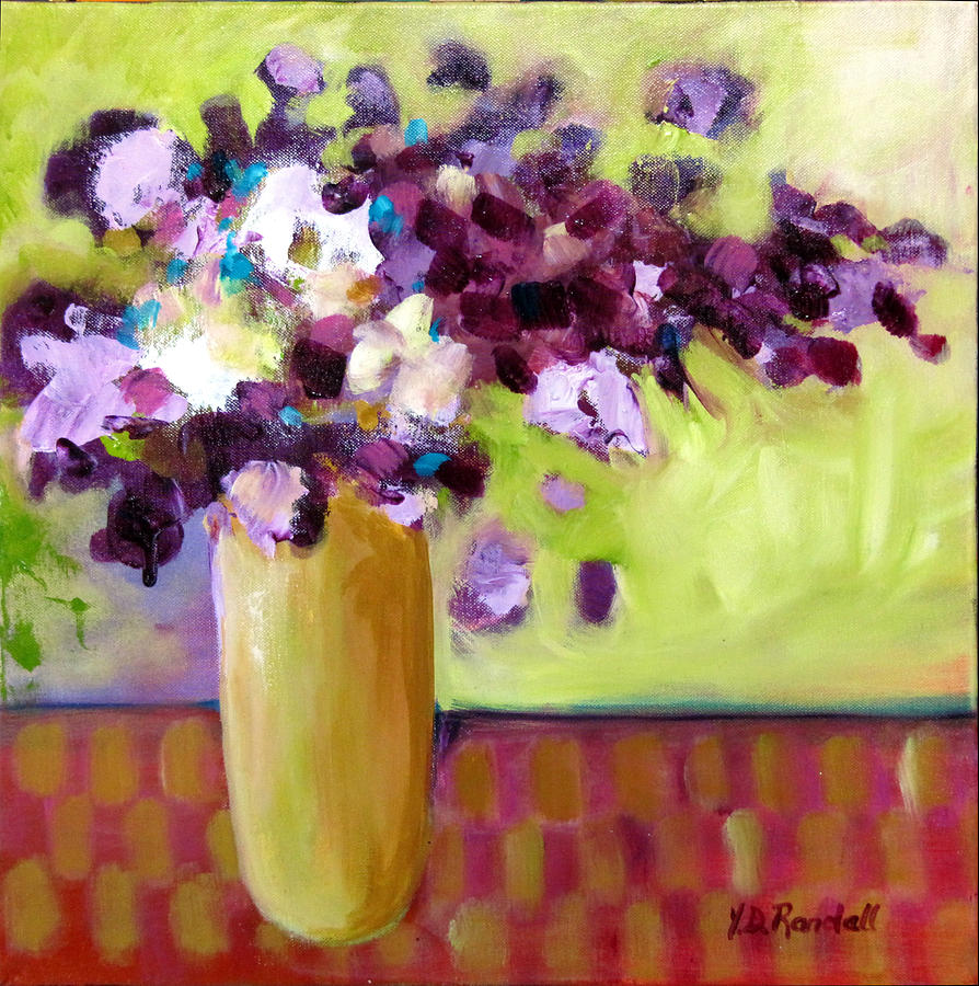 Purple Painting - Purple White Flowers In Vase by Donna Randall
