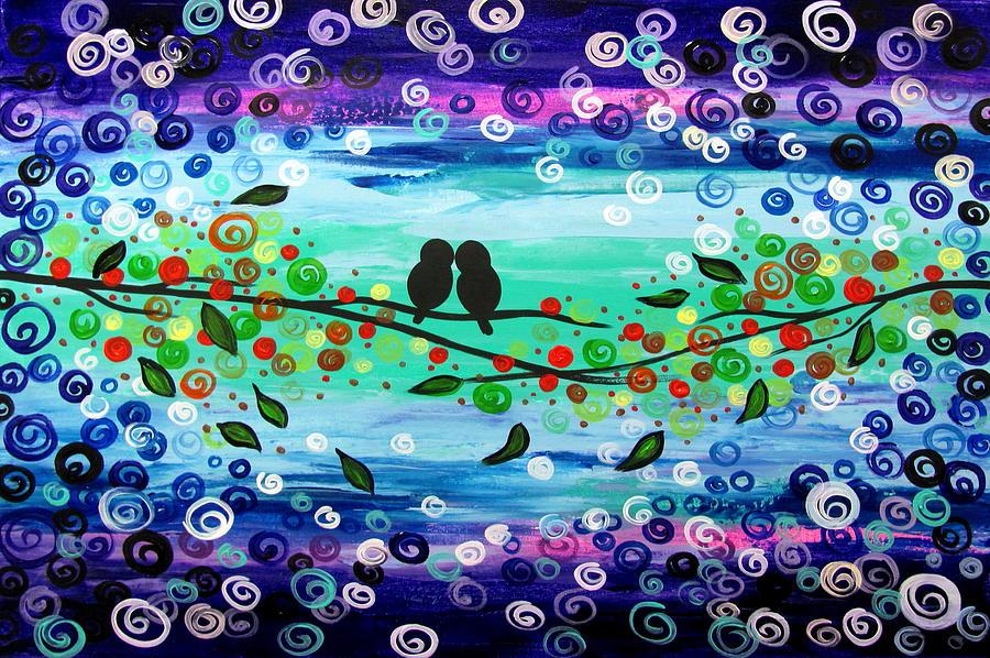 Love Birds Painting - Purple World by Mariana Stauffer