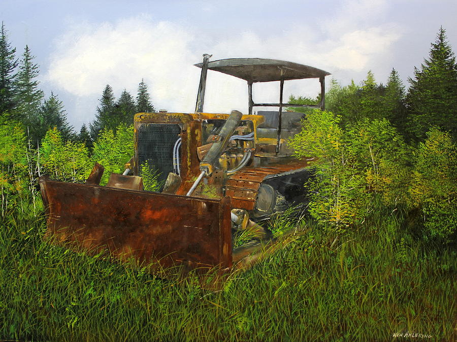 Bulldozer Painting - Push Over by Ken Ahlering