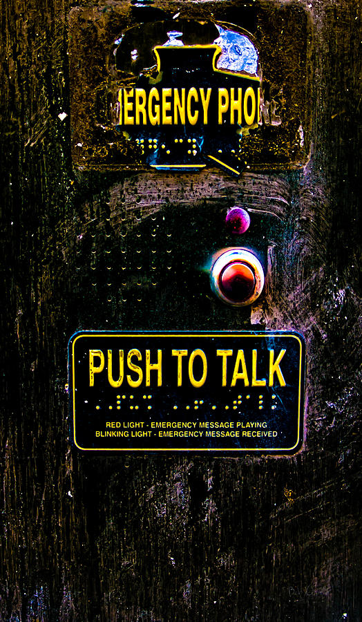 Emergency Phone Photograph - Push To Talk by Bob Orsillo