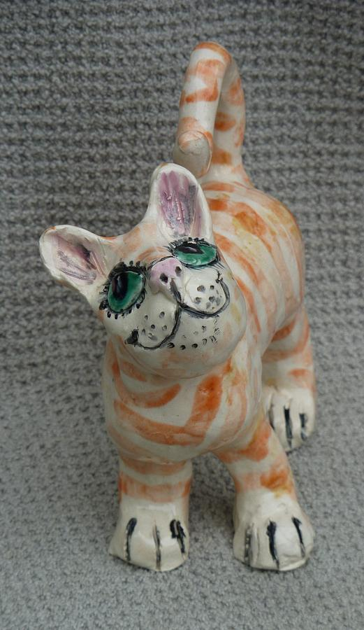 Tabby Cat Sculpture - Puss No Boots by Debbie Limoli