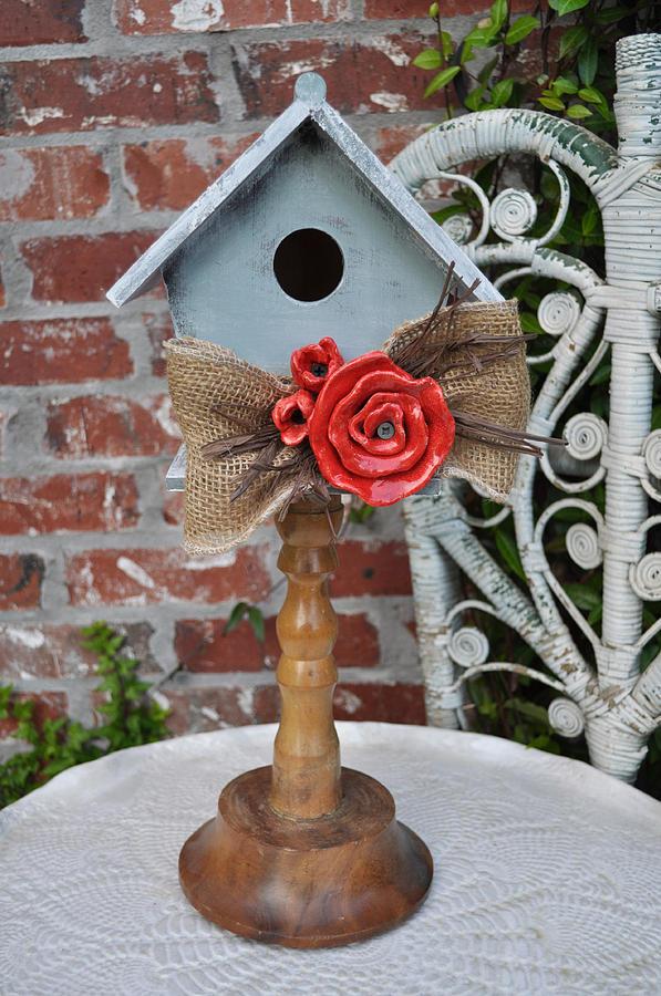 Wood Bird House Sculpture - Put On A Pedestal by Amanda  Sanford