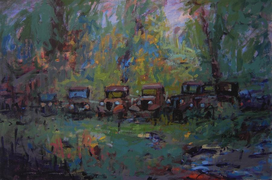 Old Cars Painting - Put Out To Pasture by R W Goetting