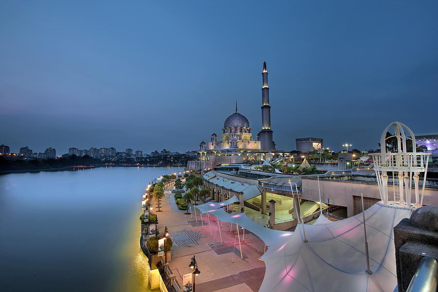 Putra Mosque Photograph - Putra Mosque At Blue Hour by David Gn