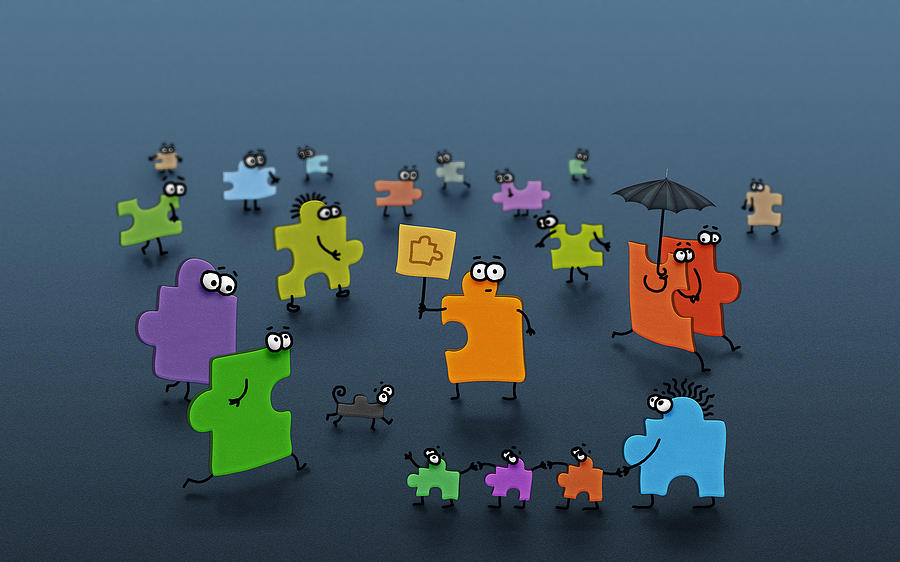 Abstract Digital Art - Puzzle Family by Gianfranco Weiss