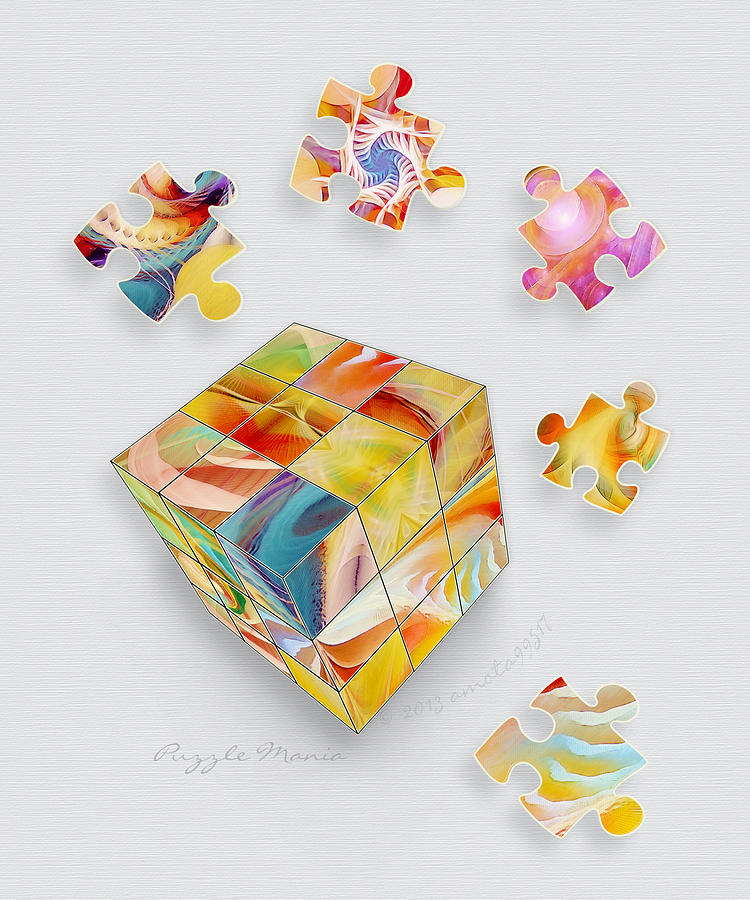 Cube Digital Art - Puzzle Mania by Gayle Odsather
