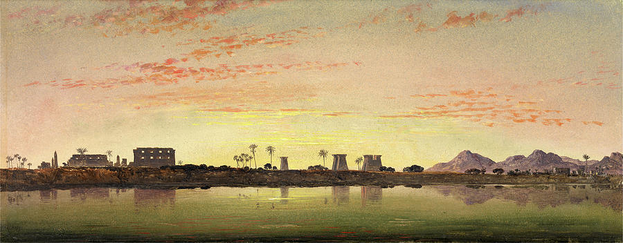 Painter Painting - Pylons At Karnak, The Theban Mountains In The Distance by Litz Collection
