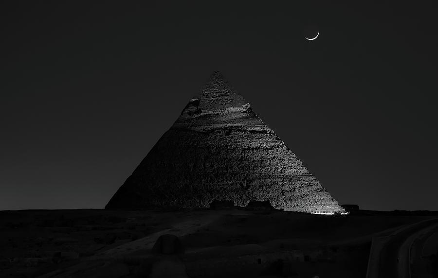 Dark Photograph - Pyramid At Night by Vincent Chen