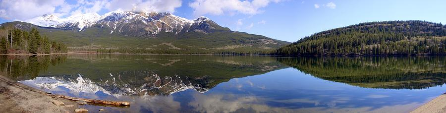 Pyramid Lake Mountain Reflections - Jasper, Alberta Photograph