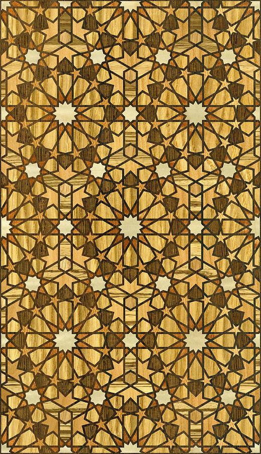 Illustrator Digital Art - Qarawiyyin Mosque Geometric Pattern 1 Wood by Hakon Soreide