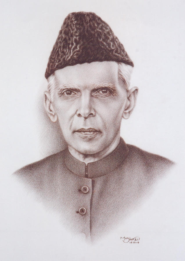 Quaid E Azam Painting By Mazher Ali