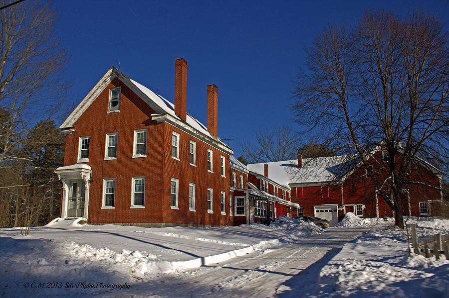 Farmhouse Photograph - Quaint Maine Winter Farm by Catherine Melvin
