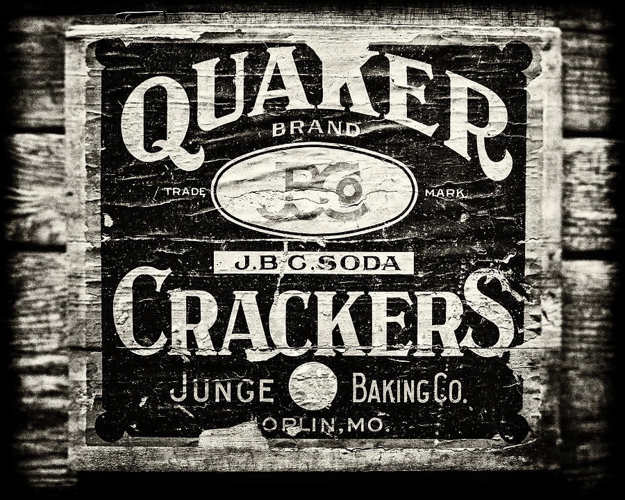 Rustic Kitchen Photograph - Quaker Crackers Rustic Sign For Kitchen In Black And White by Lisa Russo