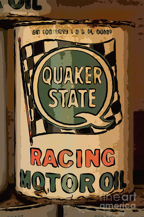 Garage Photograph - Quaker State Oil Can by Carrie Cranwill
