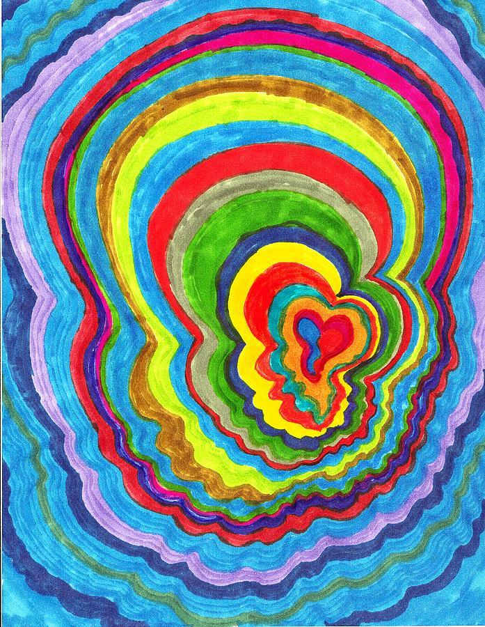 Abstract Drawing - Quakey Breakie Heart by Brenda Adams