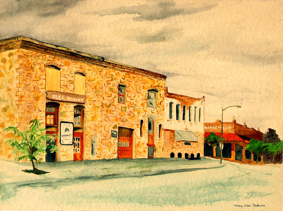 Architecture Painting - Quantrills Flea Market - Lawrence Kansas by Mary Ellen Anderson