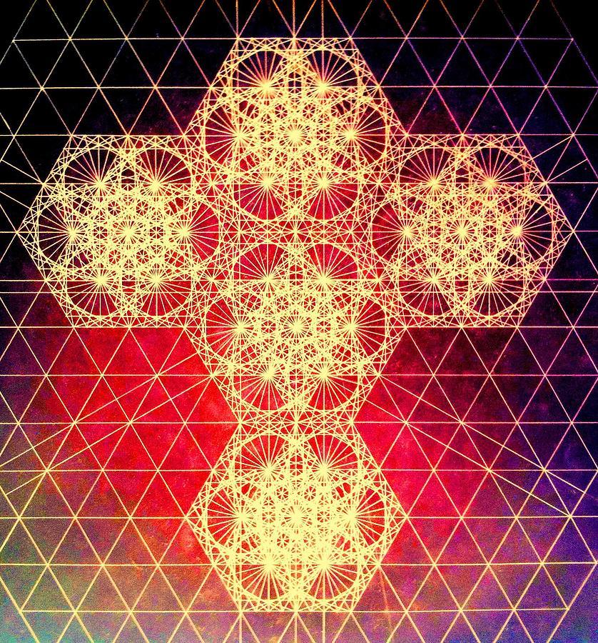 Cross Drawing - Quantum Cross Hand Drawn by Jason Padgett