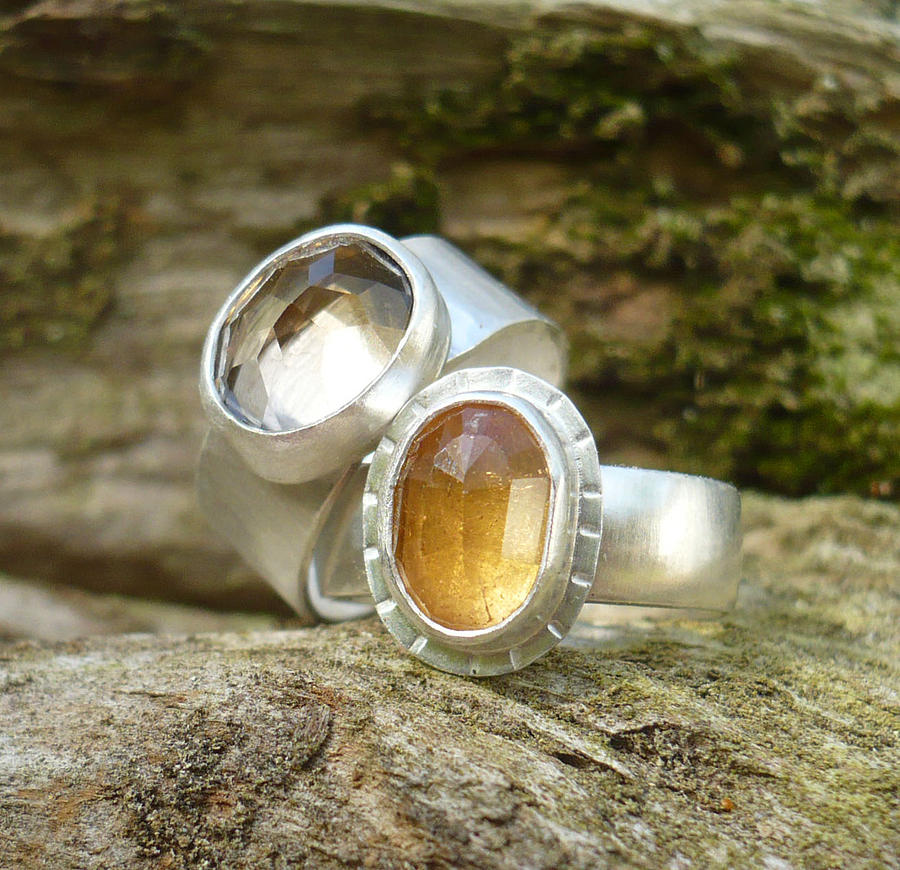 Smoky Quartz Jewelry - Quartz And Imperial Topaz Rings by Arianna Bara