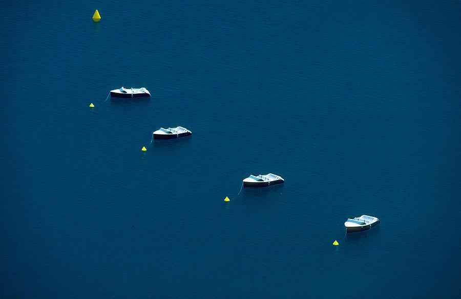 Boats Photograph - Quatre Petits Bateaux by Kim Lessel