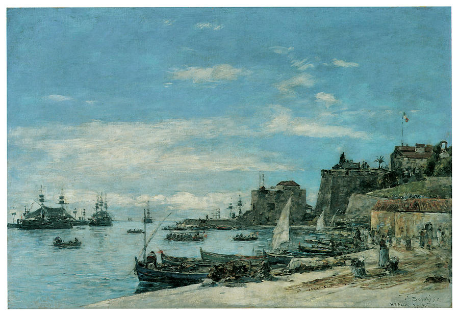 Eugene Boudin Painting - Quay At Villefranche by Eugene Boudin