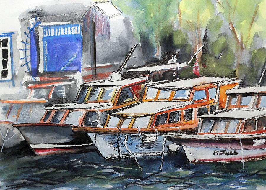 Boat Painting - Quayside by Richard Jules