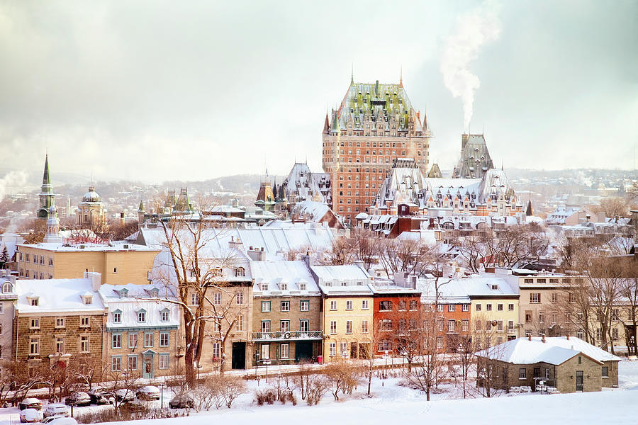 Quebec City Winter Skyline With Chateau Photograph by Nicolasmccomber