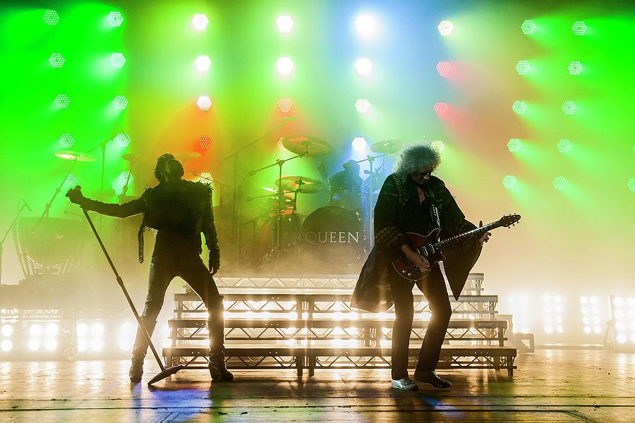 Queen & Adam Lambert Perform In London Photograph by Neil Lupin