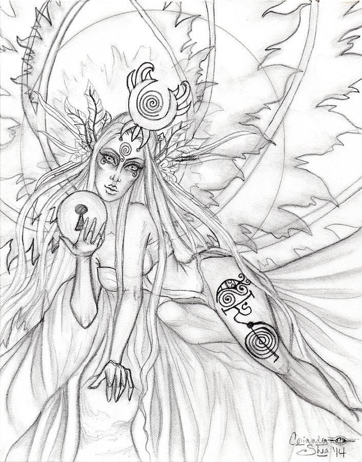 Queen Drawing - Queen Aene by Coriander  Shea