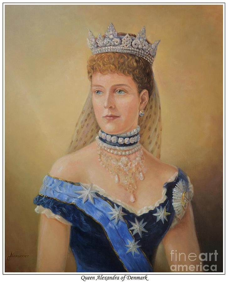 Queen Alexandra Of Denmark Oil Portrait Painting By George