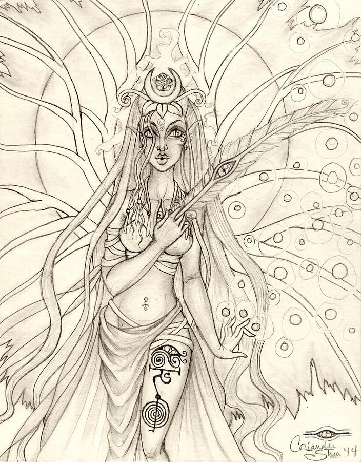 Queen Drawing - Queen Altheia by Coriander  Shea