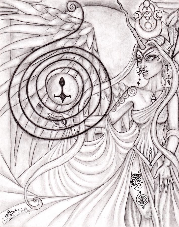 Queen Drawing - Queen Arianrhod by Coriander  Shea